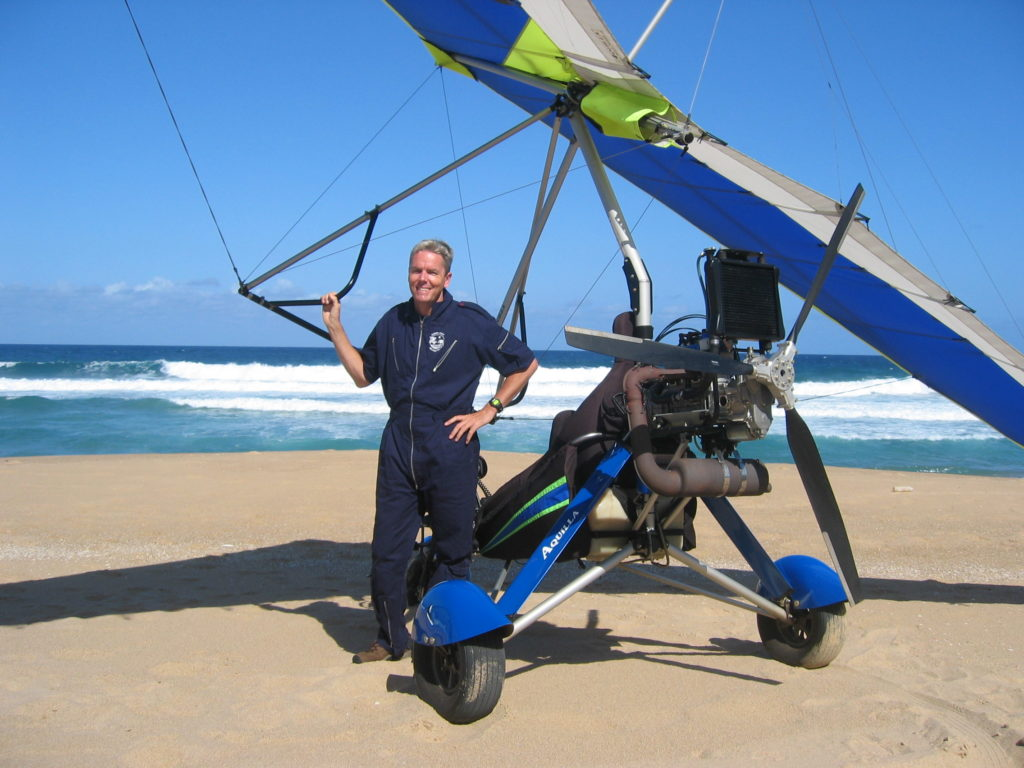 Microlight flying on the beach in Ballito, North Coast, Zimbali, Salt Rock, Chaka's Rock