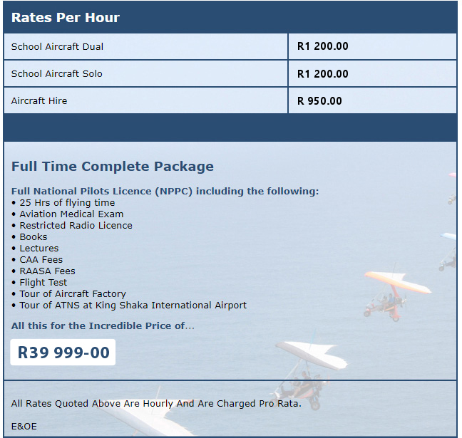 Prices for Microlights and microlight flights in Ballito, North Coast, Zimbali, Salt Rock, Chaka's Rock
